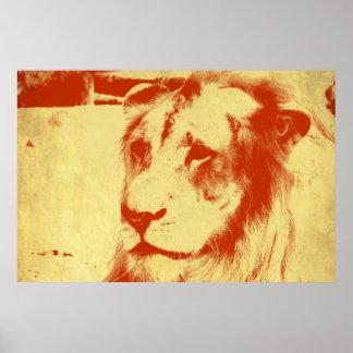 Poster Lion grunge
