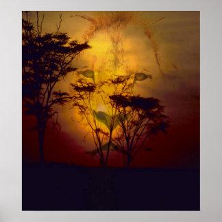 Poster Lion regardant au-dessus du coucher du soleil