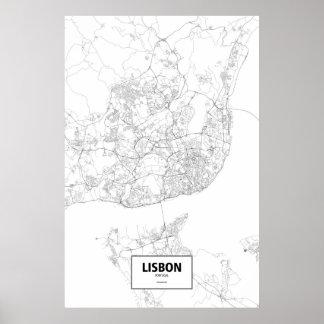 Poster Lisbonne, Portugal (noir sur le blanc)
