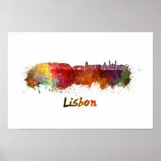 Poster Lisbonne V2 skyline in watercolor