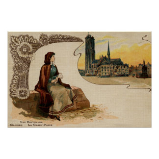 Poster Litho Ca 1900 de fabrication de dentelle de