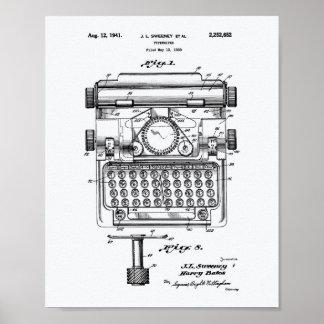 Poster Livre blanc d'art de brevet de la machine à écrire