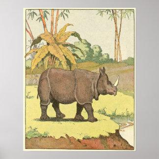 Poster Livre d'histoire de rhinocéros illustré