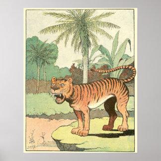 Poster Livre d'histoire de tigre illustré