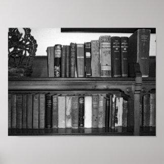 Poster Livres noirs et blancs de cru de photo