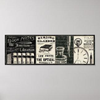 Poster Livres vintages et fournitures de bureau