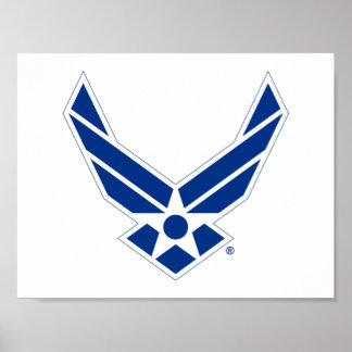 Poster Logo d'armée de l'air des États-Unis - Bleu