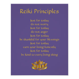 Poster Lotus de pourpre/or de principes de Reiki