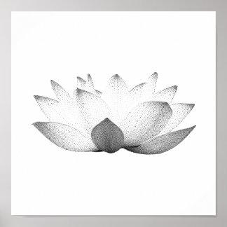 Poster Lotus noir et blanc élégant floral