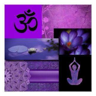 Poster Lotus pourpre et collage de méditation de Chakra