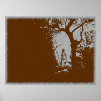 Poster Loup-garou en affiche de variante de forêt