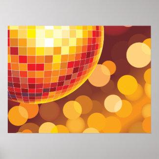 Poster Lumières d'or de temps de partie de disco