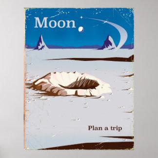 Poster Lune - affiche vintage de voyage de la science