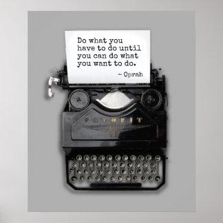 Poster Machine à écrire avec la citation de détermination