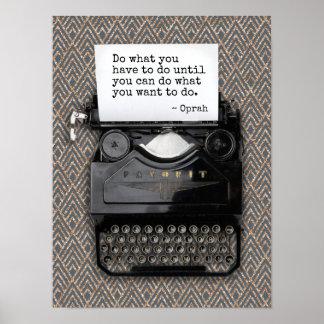 Poster Machine à écrire avec le motif du papier blanc |