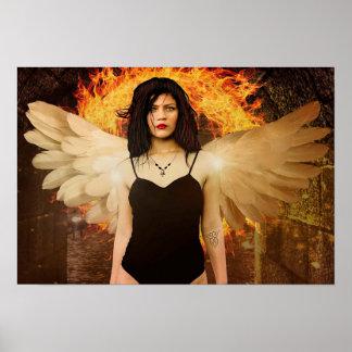 Poster Madame gothique d'ange avec le feu et l'affiche