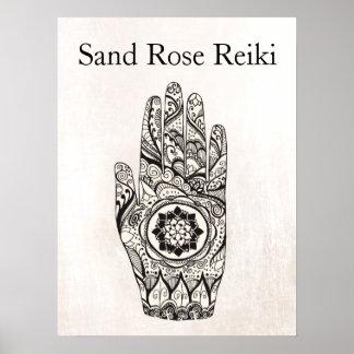 Poster Main naturelle Lotus de tatouage de henné de