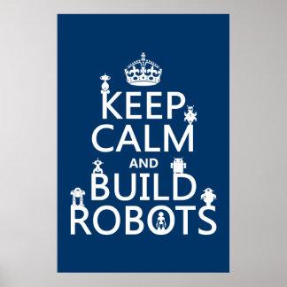 Poster Maintenez les robots calmes et de construction