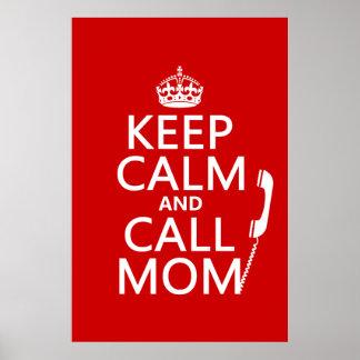 Poster Maintenez maman calme et d'appel - toutes les
