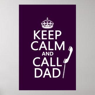 Poster Maintenez papa calme et d'appel