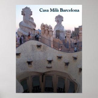 Poster Maison Milà Barcelone par Antoni Gaudí