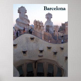 Poster Maison Milà de Barcelone par Antoni Gaudí