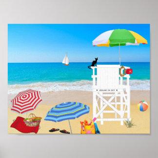 Poster Maître nageur d'été de plage sablonneuse de