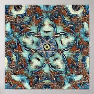 Poster Mandala de fleur de Lotus bleu