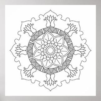 Poster Mandala de fleur. Éléments décoratifs vintages.