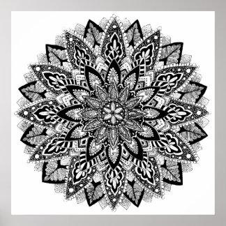 Poster Mandala de fleur noir et blanc