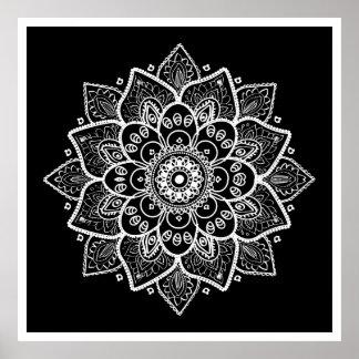 Poster Mandala floral blanc sur le noir