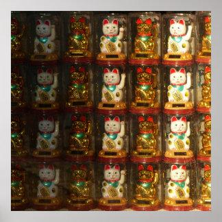 Poster Maneki-neko, Winke-Glueckskatzen, Winkekatze