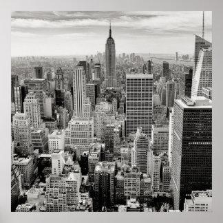 Poster Manhattan, New York (panorama noir et blanc)