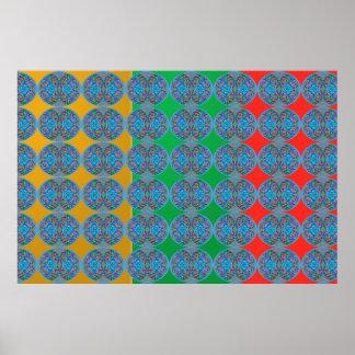 Poster Manie de couleur de MERVEILLE : Motifs bleus de