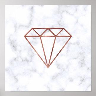 Poster marbre rose de blanc de diamant d'or de faux clair