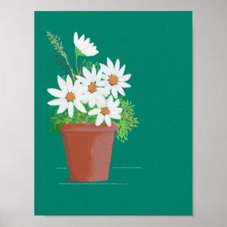 Poster Marguerites blanches dans la peinture d'aquarelle