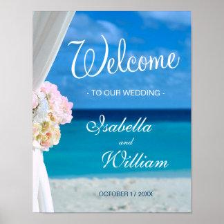 Poster Mariage bleu bienvenu d'été de plage d'océan du