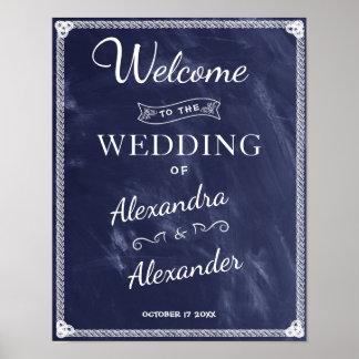 Poster Mariage bleu rustique simple bienvenu de panneau