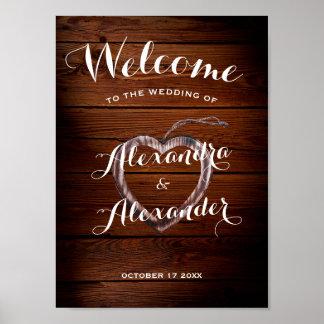 Poster Mariage en bois rustique bienvenu de coeur du