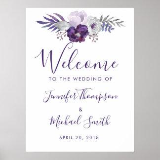 Poster Mariage floral d'aquarelle pourpre et argentée