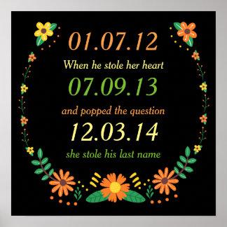Poster Mariage floral de dates personnalisé par moments