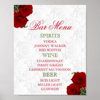 Poster Mariage floral de rose rouge-foncé - menu de barre