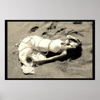poster mariage mer sable plage noir blanc mariée