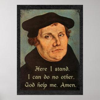 Poster Martin Luther ici je tiens la citation religieuse