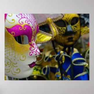 Poster Masques de mascarade de carnaval à Venise Italie