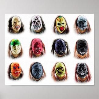 Poster Masques effrayants frais