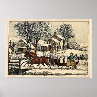 Poster Matin d'hiver dans le pays Currier et Ives