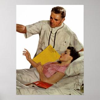 Poster Médecine vintage, docteur avec le patient féminin