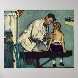 Poster Médecine vintage, docteur Seeing une patiente de