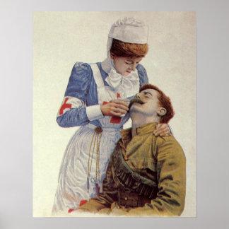 Poster Médecine vintage, infirmière avec le soldat de